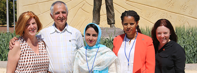2016 WIT Winners:Jeanie Borlaug, Ron DePauw, Irum Aziz (Pakistan), Elfinesh Shikur Gebremariam (Ethiopia), Amy Watson (New Zealand). The other 2 WIT winners, Mitaly Bansal (India) and Mercy Wamalwa (Kenya) not pictured