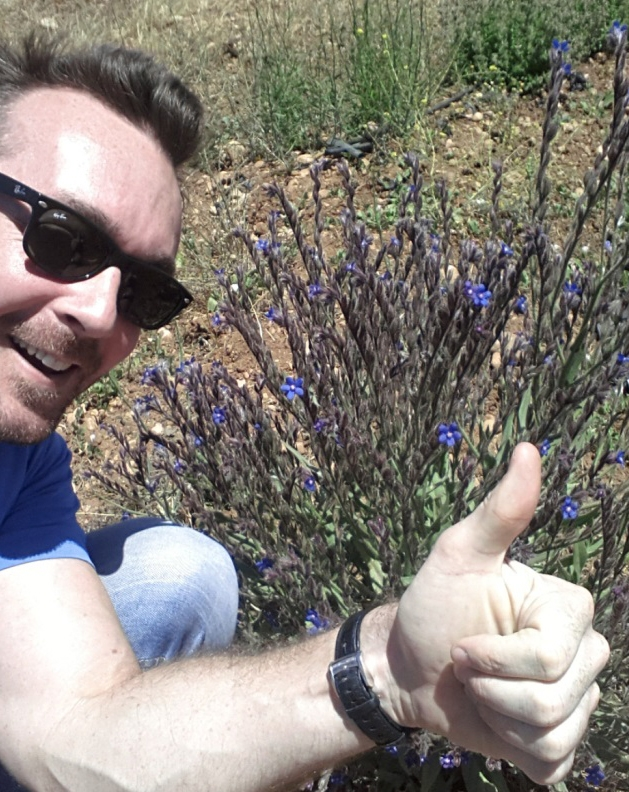 "Dr Hickey's ""selfie"" with the elusive Anchusa"